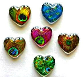 Heart Magnets - Gift for Mom - Peacock Feathers - Teacher Gift - FREE U.S. SHIPPING - Peacock - Set of 6 - 1 Inch Domed Glass Hearts