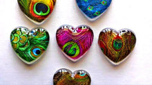 Load image into Gallery viewer, Heart Magnets - Gift for Mom - Peacock Feathers - Teacher Gift - FREE U.S. SHIPPING - Peacock - Set of 6 - 1 Inch Domed Glass Hearts