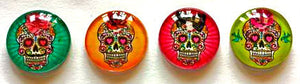 Sugar Skull Magnets - Skull Necklace Cabochon Supplies - Set of 4 - 1 Inch Domed Glass Circles with or without magnets