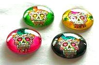 Load image into Gallery viewer, Magnets - Sugar Skulls - Day of the Dead - Skull - Set of 4 - Free U.S. Shipping - 1 Inch Domed Glass Circles