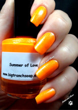 "Load image into Gallery viewer, Neon Orange Nail Polish - Fluorescent - ""Summer of Love"" - Free U.S. Shipping - UV Reactive Nail Polish/Lacquer"