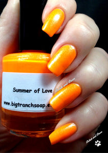 "Neon Orange Nail Polish - Fluorescent - ""Summer of Love"" - Free U.S. Shipping - UV Reactive Nail Polish/Lacquer"