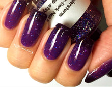 "Load image into Gallery viewer, Color Changing Nail Polish - Purple to Black - ""Thunderstorm"" - Thermal - FREE U.S. SHIPPING - Holographic - Full Size Bottle"