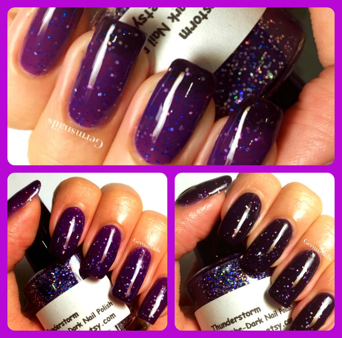 Color Changing Nail Polish - Purple to Black -