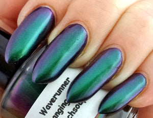 "Free U.S. Shipping - Nail Polish - Multichrome Chameleon Chrome - Purple/Green Color Shifting - ""Waverunner"" - 0.5 oz Full Sized Bottle"