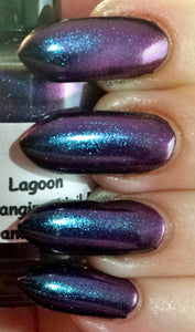 "Nail Polish - Multichrome Chameleon Chrome - Blue/Purple/Green/Copper Color Shifting - ""Lagoon"" -  Hand Blended - FREE U.S. SHIPPING"