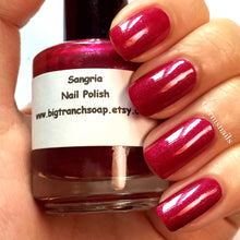 "Load image into Gallery viewer, Red Nail Polish - Holographic - Hand Blended - Free U.S. Shipping - ""SANGRIA"" - Red Nail Polish - 0.5 oz Full Sized Bottle"