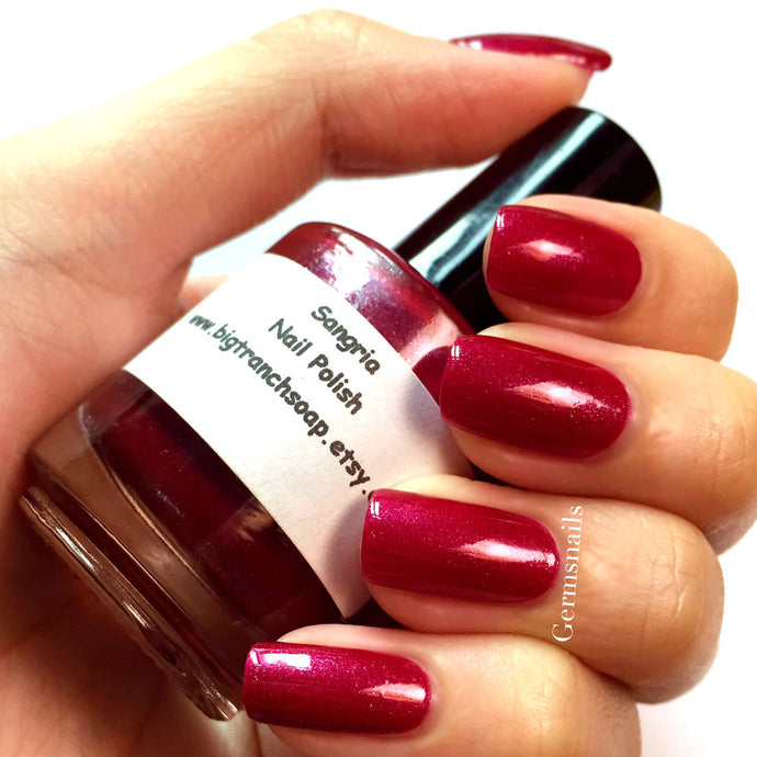 Red Nail Polish - Holographic - Hand Blended - Free U.S. Shipping -