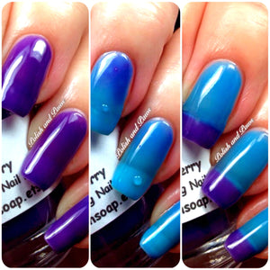 "Free U.S. Shipping - Color Changing Thermal Nail Polish, Ombre Blue to Purple - Mood Polish - ""Razzleberry""- Gift for Her - Girlfriend Gift"