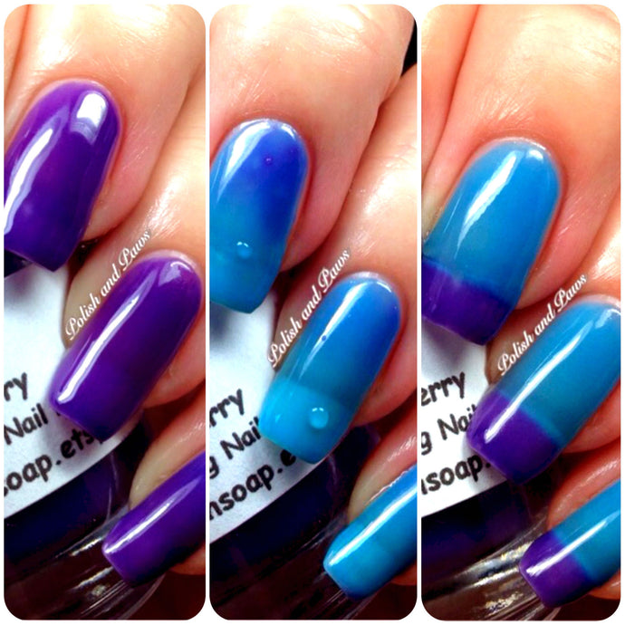 Free U.S. Shipping - Color Changing Thermal Nail Polish, Ombre Blue to Purple - Mood Polish -