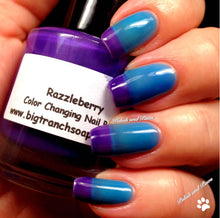 "Load image into Gallery viewer, Free U.S. Shipping - Color Changing Thermal Nail Polish, Ombre Blue to Purple - Mood Polish - ""Razzleberry""- Gift for Her - Girlfriend Gift"