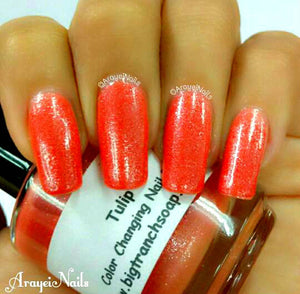 Color Changing Nail Polish-Glitter - Mood Nail Polish-TULIP-Orange to Yellow-Hand Blended Polish - FREE U.S. SHIPPING