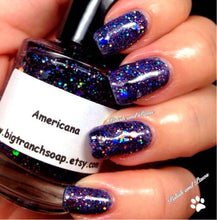 "Load image into Gallery viewer, Patriotic Nail Polish - Red, Blue and Silver Top Coat - Free U.S. Shipping - ""AMERICANA"" - Hand Blended - 0.5 oz Full Sized Bottle"
