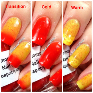 Color Changing Nail Polish - Strawberry Lemonade - Red to Yellow - Gift for Woman, Mom, Sister - Full Size - FREE U.S. SHIPPING