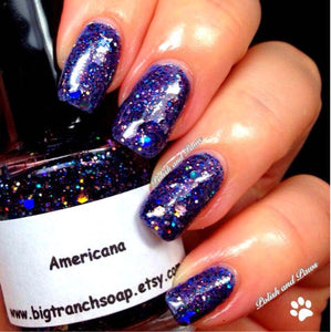 "Patriotic Nail Polish - Red, Blue and Silver Top Coat - Free U.S. Shipping - ""AMERICANA"" - Hand Blended - 0.5 oz Full Sized Bottle"