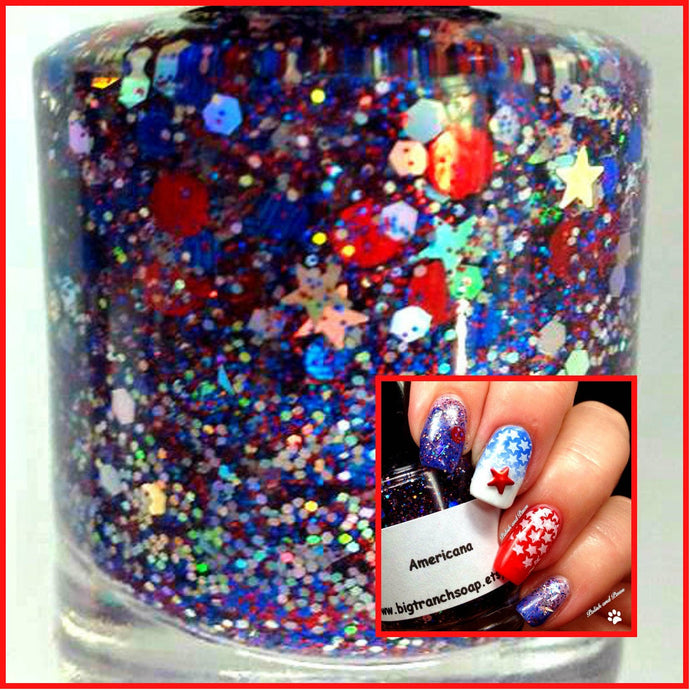 Patriotic Nail Polish - Red, Blue and Silver Top Coat - Free U.S. Shipping -