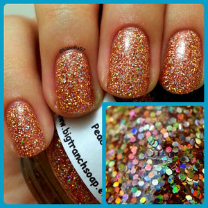 "Holographic Nail Polish - Micro Glitter Top Coat - FREE U.S. SHIPPING - ""Peach Bellini"" - Hand Blended - 0.5 oz Full Sized Bottle"