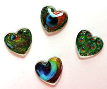 Load image into Gallery viewer, Magnets - Peacock Feathers - Peacock - Set of 4 - Free U.S. Shipping - 1 Inch Domed Glass Hearts
