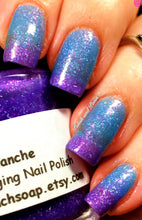 "Load image into Gallery viewer, Color Changing Nail Polish - FREE U.S. SHIPPING - ""Avalanche""- Blue to Purple Glittery-Temperature Changing - 0.5 oz Full Sized Bottle"