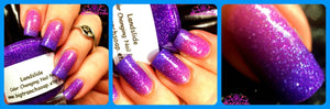 "Ombre Color Changing Thermal Nail Polish - ""Landslide""- Pink to Purple Glitter - FREE U.S. SHIPPING - Temperature Changing"