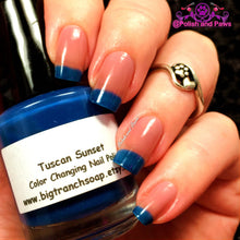 "Load image into Gallery viewer, Free U.S. Shipping - Color Changing Thermal Nail Polish - ""Tuscan Sunset""- Blue to Peach - Temperature Changing - 0.5 oz Full Sized Bottle"