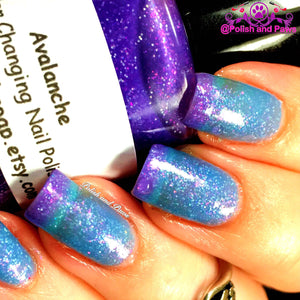 "Color Changing Nail Polish - FREE U.S. SHIPPING - ""Avalanche""- Blue to Purple Glittery-Temperature Changing - 0.5 oz Full Sized Bottle"