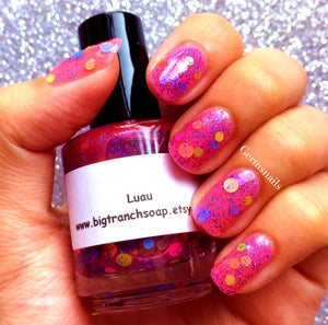 Luau: Custom-Blended NEON Glitter Nail Polish/Lacquer - Free U.S. Shipping