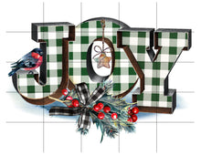Load image into Gallery viewer, Joy Christmas Sublimation Transfer Ready to Press, Gingham Green, Printed Sub Transfer, Sublimation Image, Sub Image, Ready to Use, DIY Gift