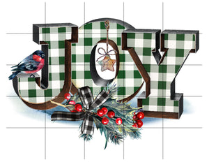 Joy Christmas Sublimation Transfer Ready to Press, Gingham Green, Printed Sub Transfer, Sublimation Image, Sub Image, Ready to Use, DIY Gift