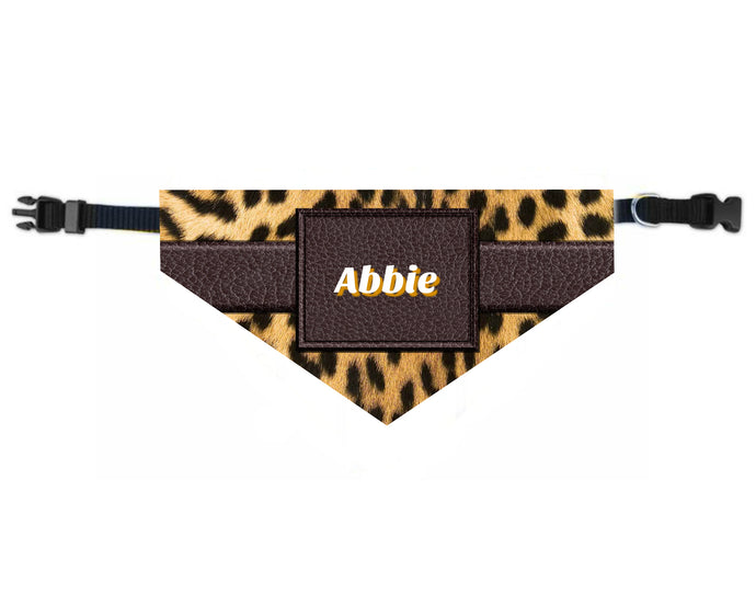 Leopard Dog Bandana Over the Collar, Personalized, Includes Collar, Custom Pet Bandana, Personalized Pet Scarf, Pet Owner Gift, New Dog, Choose Size