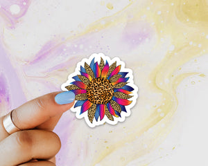 MINI Leopard Sunflower Sticker, Laptop Sticker, Water Bottle Sticker, Sunflower Sticker, Cheetah Sunflower Sticker, Sunflowers, Leopard