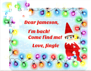 Christmas Lights Elf Puzzle, Christmas Elf, Children's Custom Puzzle, Personalized Puzzle, Elf Return, Kid Gift, Personalized Kids Puzzle