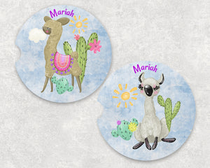 Llama Cactus Personalized Car Coasters Set of 2 - Customized - Animal Gift, Llamas, Car Accessories, Name car Coasters, Llama, Cactus Gift