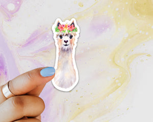 Llama Floral Crown Sticker, Llama Sticker, Alpaca Sticker for Laptops, Cars, Water Bottles, Gift for Llama Lovers, Alpaca Lover Gift