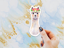 Load image into Gallery viewer, Llama Floral Crown Sticker, Llama Sticker, Alpaca Sticker for Laptops, Cars, Water Bottles, Gift for Llama Lovers, Alpaca Lover Gift