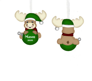 Moose Christmas Ornament, Personalized, Moose Gift, Moose Ornament, Name Ornament, Ornament for Kids, Ornament, Moose, Holiday Ornament