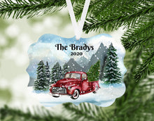 Load image into Gallery viewer, Red Truck Personalized Christmas Ornament, Name Christmas Ornament, Mountains, Custom Ornament, Red Truck, Family Gift, Country Christmas