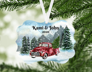 Red Truck Personalized Christmas Ornament, Name Christmas Ornament, Mountains, Custom Ornament, Red Truck, Family Gift, Country Christmas