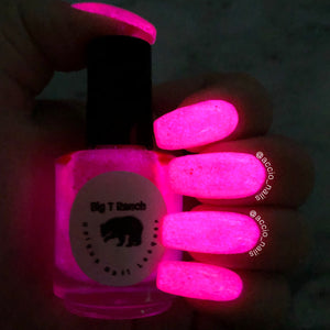 "Glow-in-the-Dark Nail Polish, Rose Red, Glows Pink, ""Pink Moon"", Custom Blended, Glow Nails, FREE U.S. SHIPPING, Full Sized Bottle"
