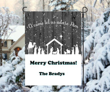 Load image into Gallery viewer, O Come Let Us Adore Him Personalized Garden Flag, Holiday Garden Flag, Outdoor Christmas Decoration, Custom Christmas Flag, Yard Flag