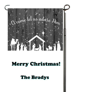 O Come Let Us Adore Him Personalized Garden Flag, Holiday Garden Flag, Outdoor Christmas Decoration, Custom Christmas Flag, Yard Flag