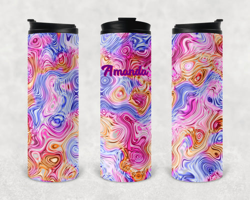 Pastel Oils and Water Personalized Vinyl Wrap Epoxy Tumbler, Pink, Blue, Orange, Mom Gift, Travel Cup, Custom Tumbler, Oil Slick, 17 oz