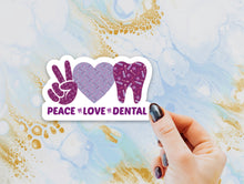 Load image into Gallery viewer, Peace Love Dental Sticker, MINI Tooth Laptop Sticker, Water Bottle Sticker, Tooth Sticker, Tumbler Sticker, Dental Assistant, Dental Hygiene