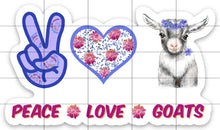 Load image into Gallery viewer, Peace Love Goats Sticker, Goat Sticker, Goat Sticker for Laptops, Goats, Water Bottles, Gift for Goat Lovers, Goat, 4-H Goats, Hippie Goat