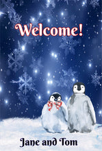 Load image into Gallery viewer, Penguins Personalized Garden Flag, Holiday Garden Flag, Snow Garden Flag, Outdoor Christmas Decoration, Custom Christmas Flag, Yard Flag