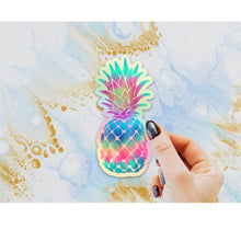 Load image into Gallery viewer, Pineapple Holographic Sticker, Pineapple Laptop Sticker, Water Bottle Sticker, Tie Dye Pineapple, Tumbler Sticker, Rainbow Pineapple Gift