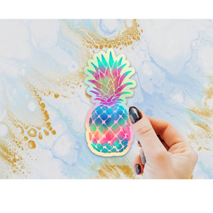 Pineapple Holographic Sticker, Pineapple Laptop Sticker, Water Bottle Sticker, Tie Dye Pineapple, Tumbler Sticker, Rainbow Pineapple Gift