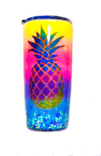 Load image into Gallery viewer, Pineapple Tropical Personalized Glitter Tumbler with Lid - Ombre - Neon Yellow, Neon Pink, Neon Purple, Neon Blue - Luau - Insulated - 20 oz