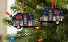 Load image into Gallery viewer, Christmas Camper with Christmas Lights and Name Ornament, Personalized, Plaid Camper Ornament, Name Ornament, Camping, Couple Gift