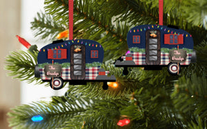 Christmas Camper with Christmas Lights and Name Ornament, Personalized, Plaid Camper Ornament, Name Ornament, Camping, Couple Gift